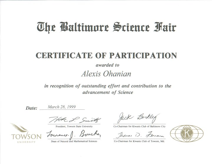 science fair participation certificate template